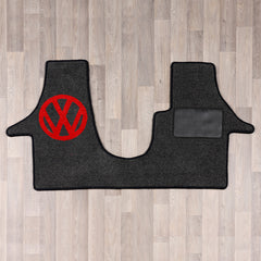 T5 vw van cab rug with vw logo in black and red colours