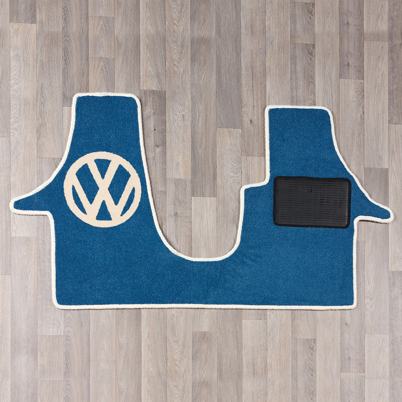 T6 VW van cab rug with VW logo in blue and white colours