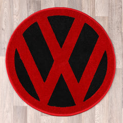 round rug with vw logo in black and red colours