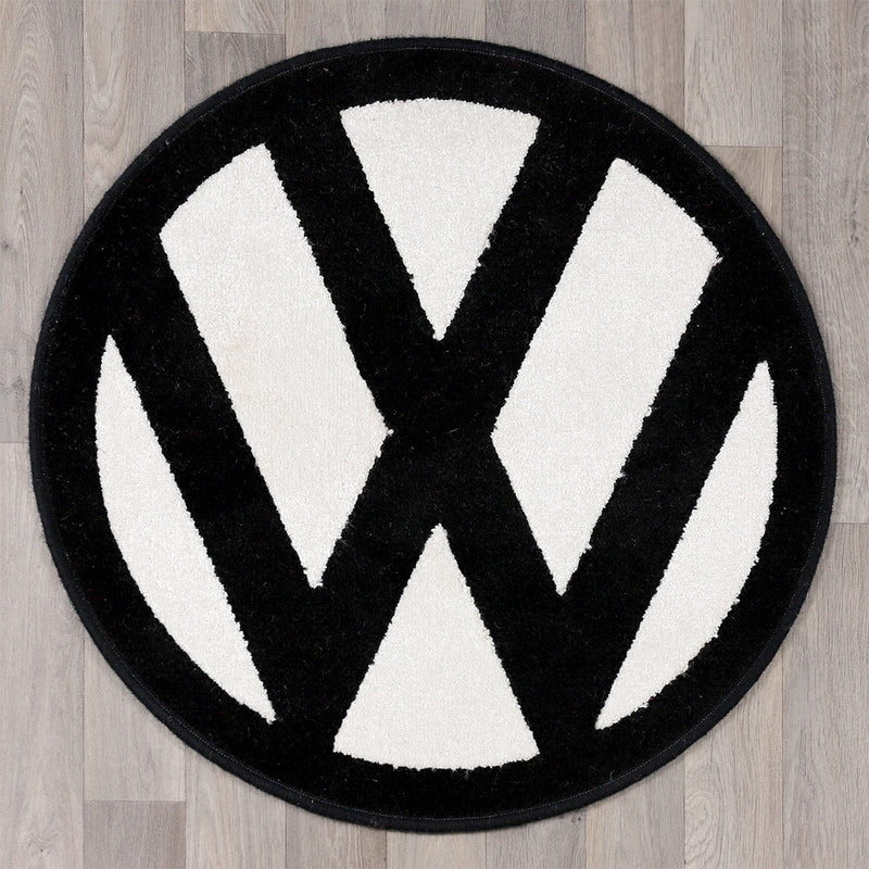 round rug with vw logo in black and white colours