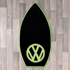 Surfboard shaped rug with VW logo in dark grey and lime green colours