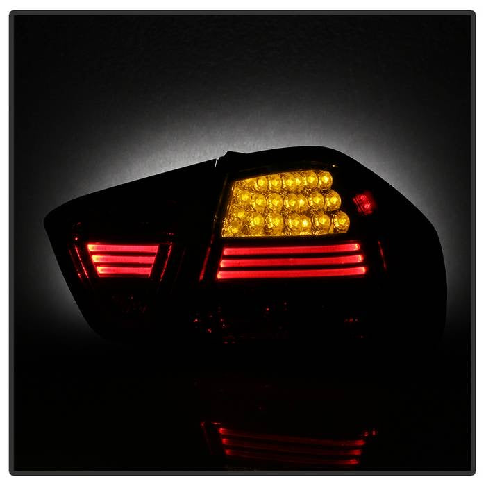 BMW E90 3-Series 06-08 4Dr LED Tail Lights - Red Smoke