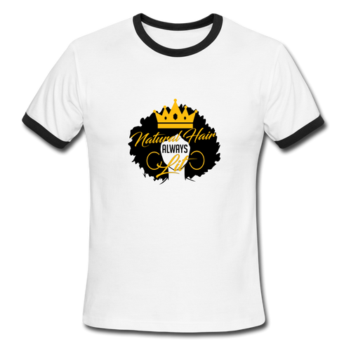 Natural Hair Ringer T-Shirt - white/black