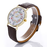 Stylish Fruit And Vegetable Printing Leather Bracelet Lady Womans Wrist Watch