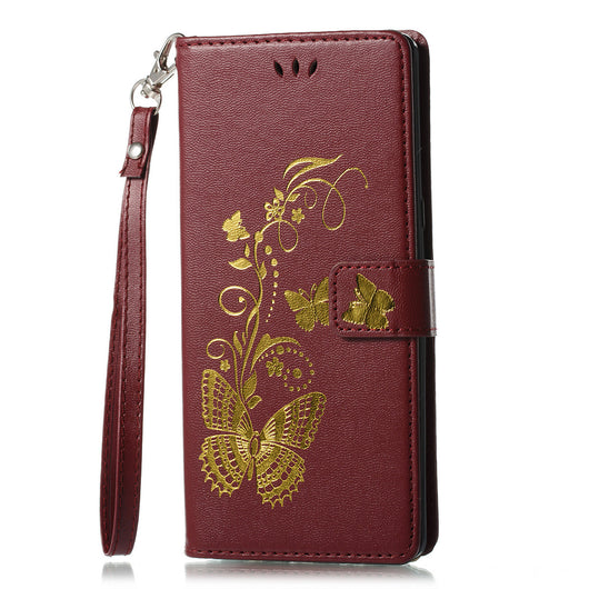 Gilding Butterfly PU Leather Phone Case Soft Elegant Drop-proof Phone Case Shell for Samsung Galaxy Note 8