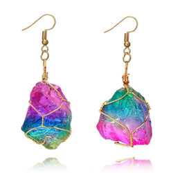Rainbow Stone Natural Crystal  Rock Earring  Gold Plated Quartz Pendant