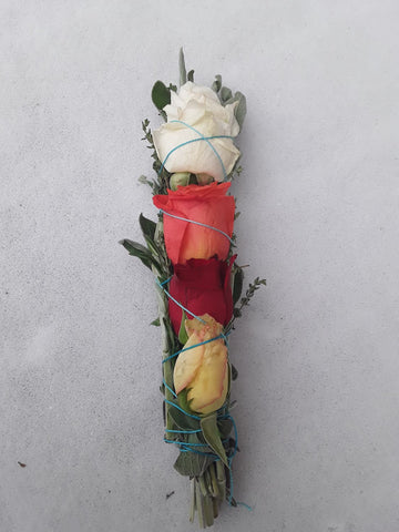 Rose Flower Sage Smudge Stick