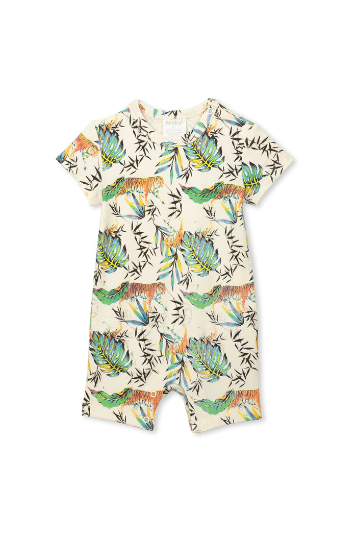 Oatmeal Tiger Romper by Milky