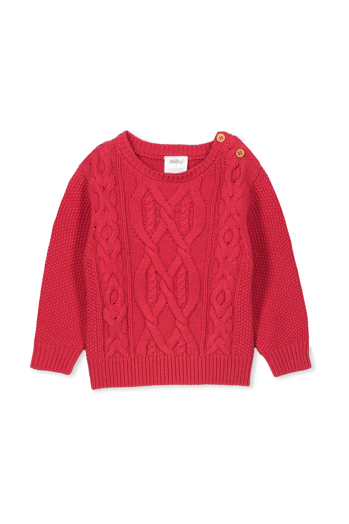 Red Cable Knit by Milky
