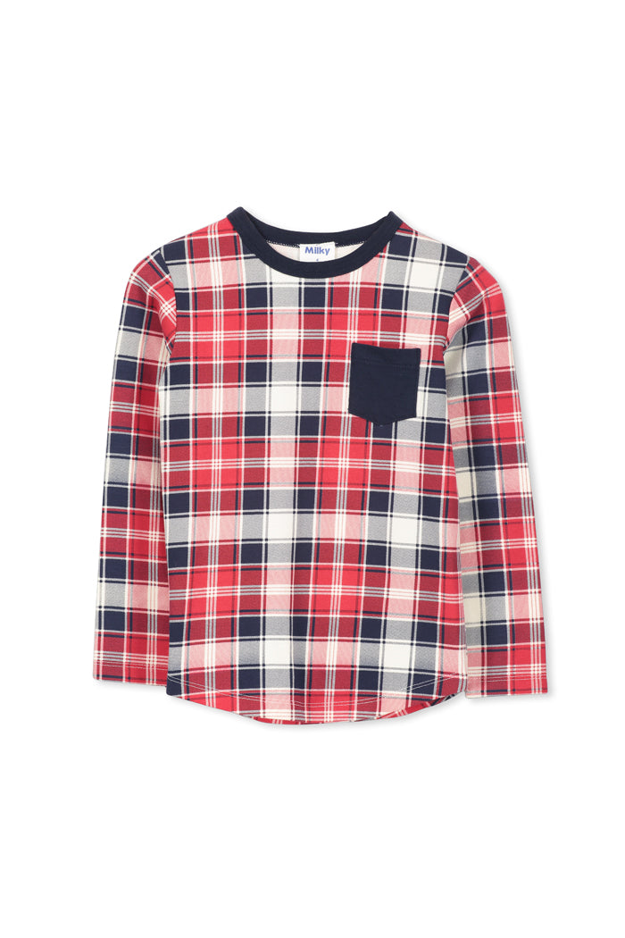 Red/Navy/Oatmeal Check Tee by Milky
