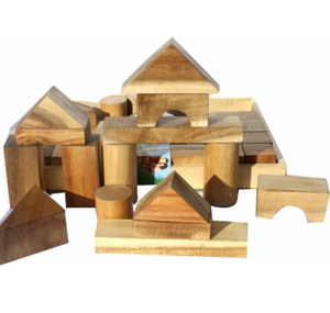 QToys Natural Wood Blocks - 34 pieces