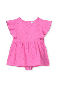 Ultra Pink Broderie Baby Dress by Milky