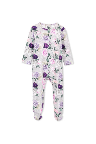 Grey/Pink Floral Rosebloom Romper by Milky