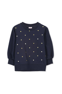 Navy Heart Foil Sweat by Milky