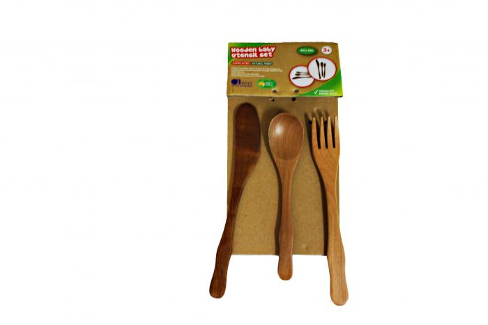 QToys Toddler Wooden Utensil Set