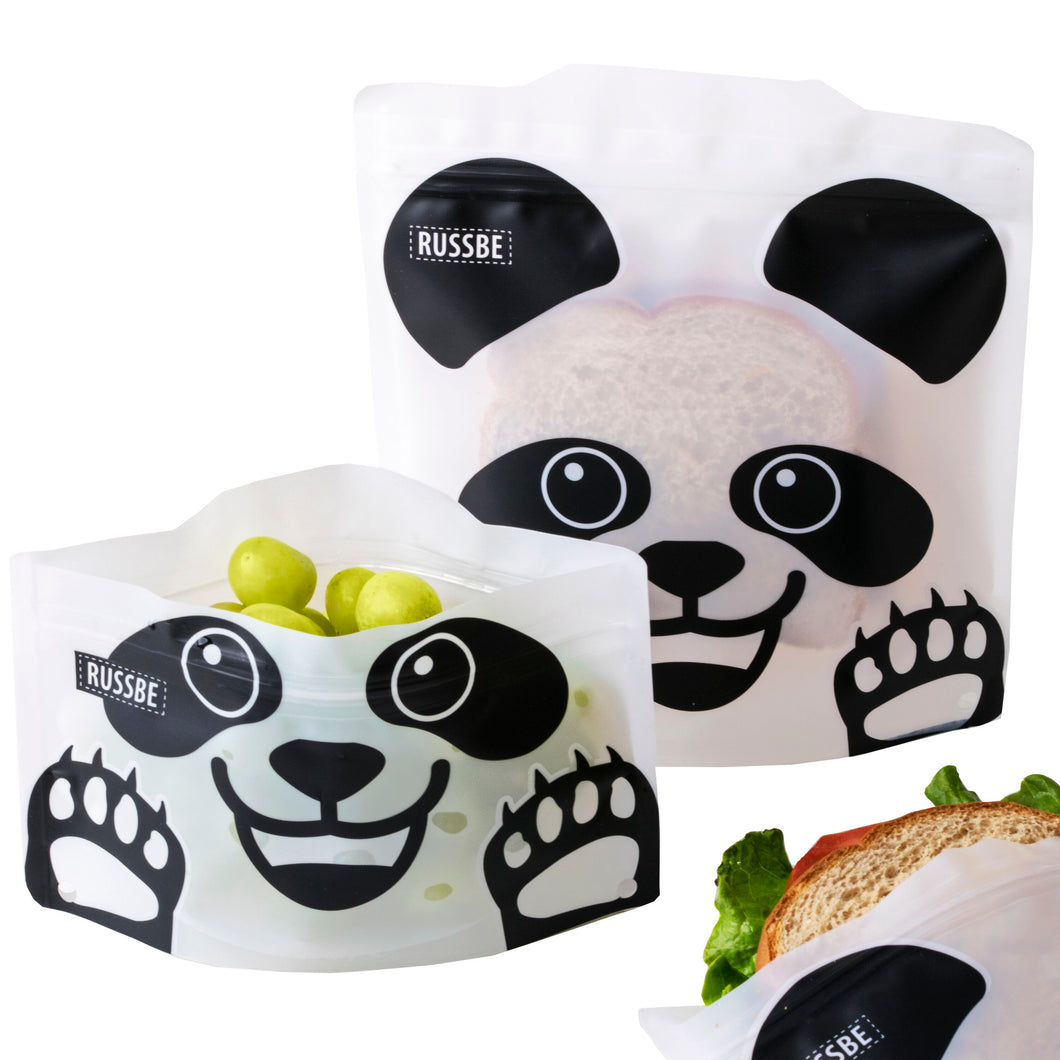 Russbe Reusable Snack and Sandwich Bags - Panda (set of 4)