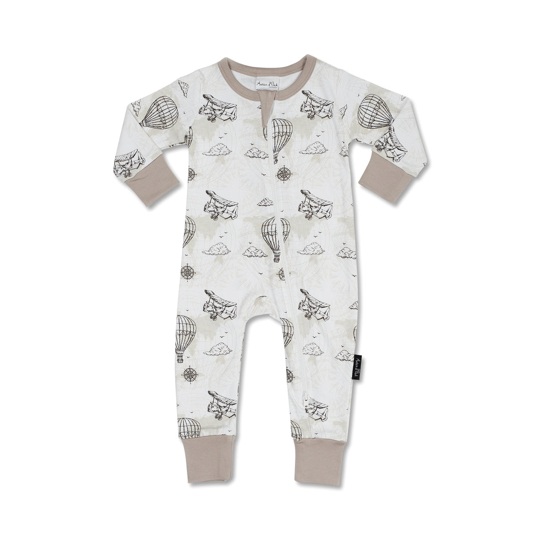 Aster & Oak Vintage Map Zip Romper