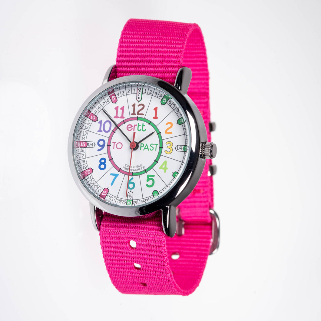 EasyRead Time Teacher Watch - Pink band with rainbow face