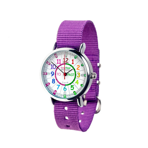 EasyRead Time Teacher Watch - Purple band with rainbow face