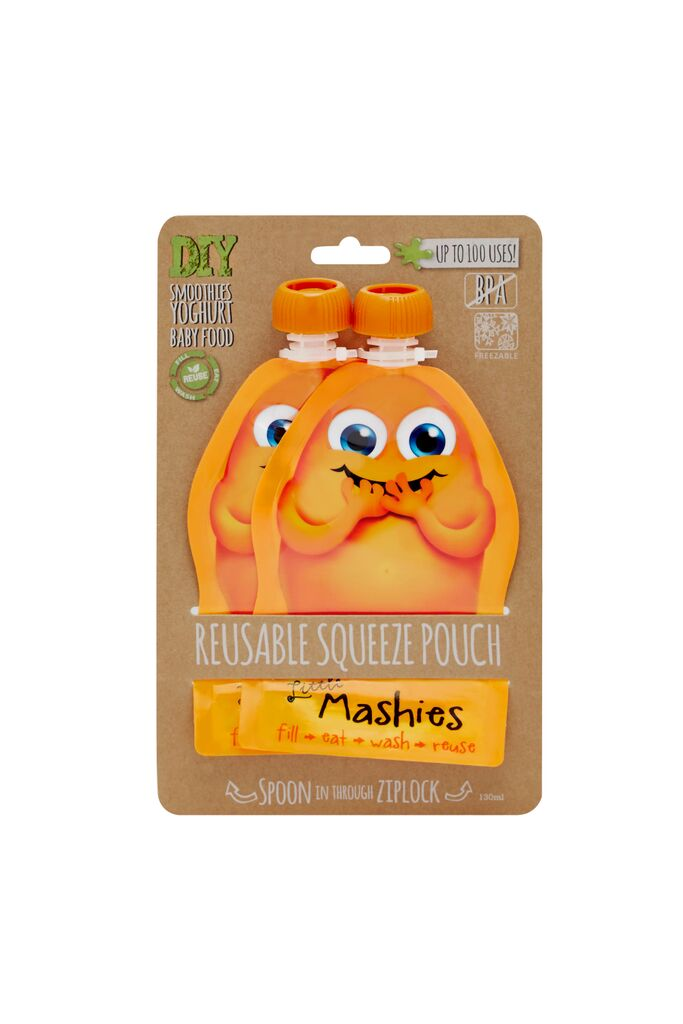 Little Mashies Reusable Squeeze Pouch - 2 pack orange