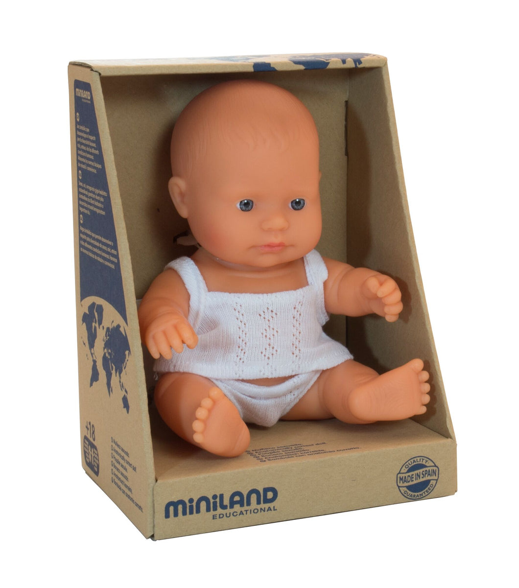 Miniland Doll - Anatomically Correct Baby, Caucasian Boy, 21 cm