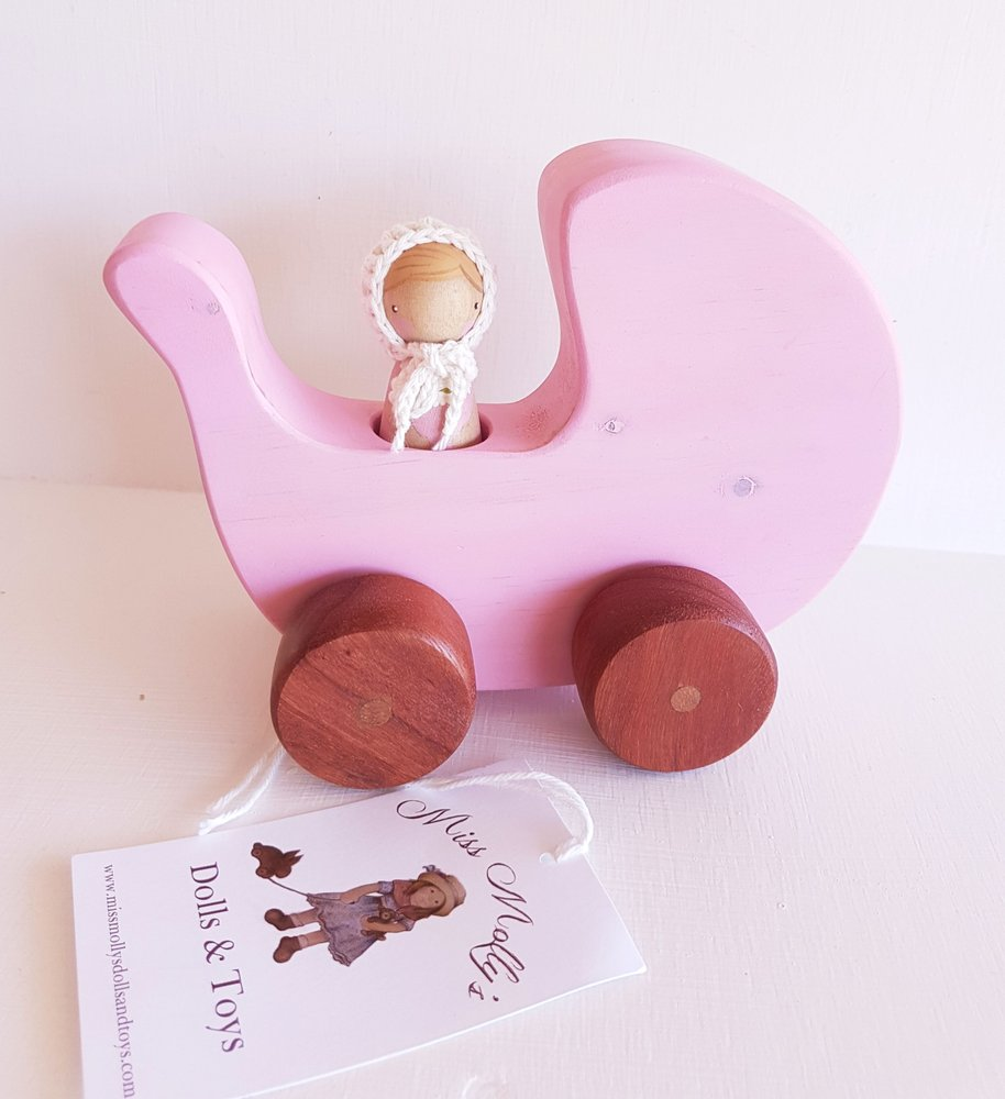Miss Molly's Dolls and Toys Peg Doll and Pram