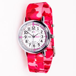 EasyRead Time Teacher Watch - Pink Camo band with white face