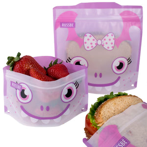 Russbe Reusable Snack and Sandwich Bags - Purple Monster (set of 4)