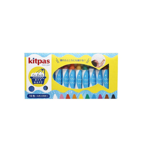 Kitpas Crayons for Bath - 10 Colours with sponge