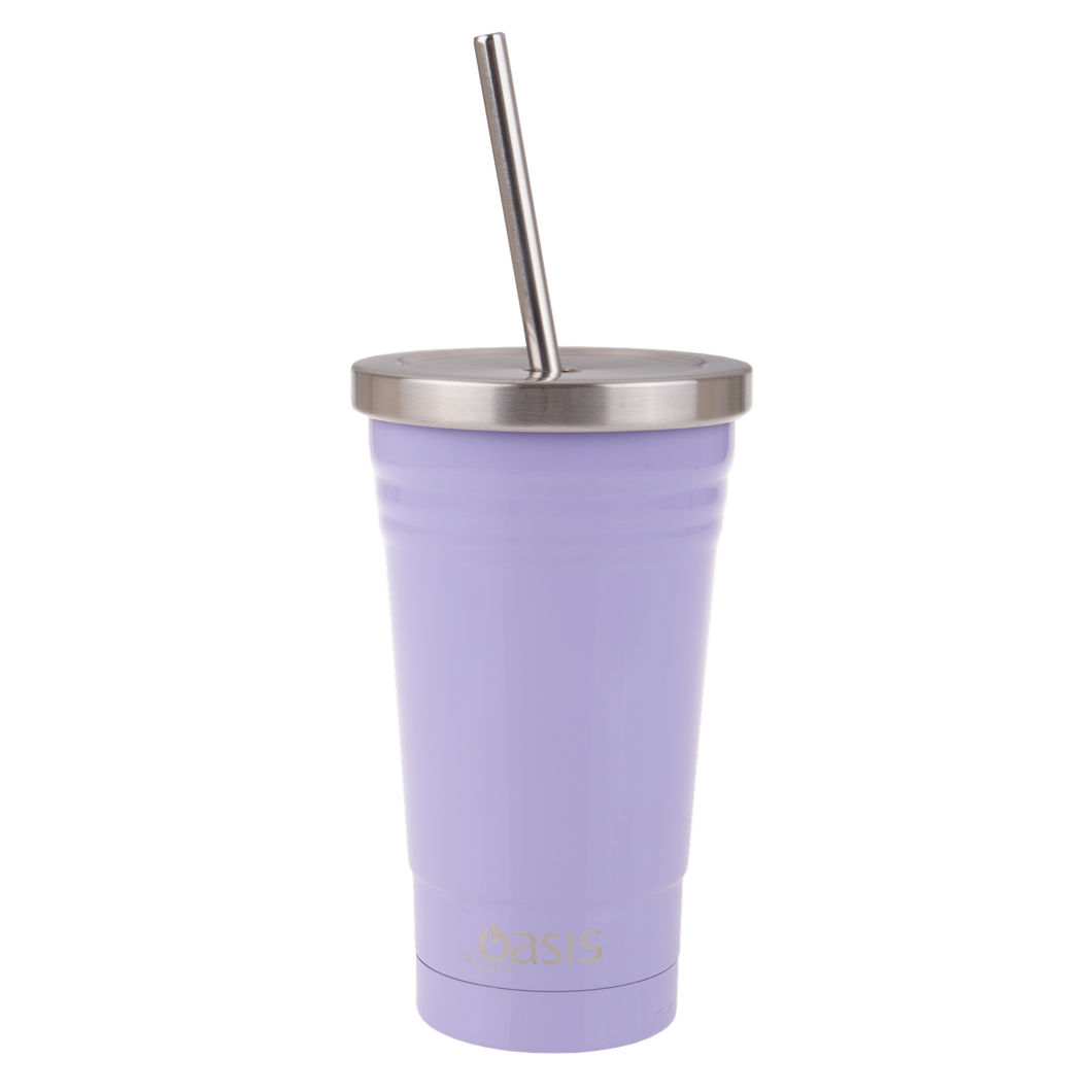 Oasis Double Wall Insulated Stainless Steel Smoothie Tumbler With Straw 500ml - Lilac