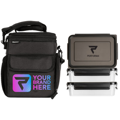 3 Meal Cooler Bag, Black, Your Brand Here, with 3 containers, Performa Custom