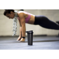 28oz (800mL), ACTIV Shaker Cup, Black, In Foreground of a girl doing pushups, Performa Custom