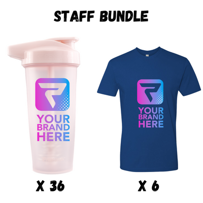 The Performa Staff Bundle, 36 x 28oz ACTIV Shakers & 6 x Cotton Crew T-Shirts, Performa Custom USA