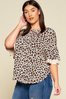 Plus Size Animal Print Swing Tunic Top With Contrast Color Block Bell Sleeves
