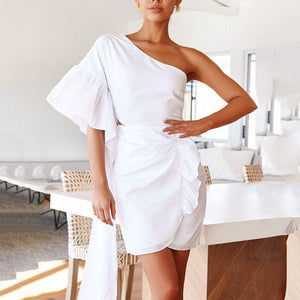 One-Shoulder Sleeve Solid Color   Stitching Slim Dress(Video)