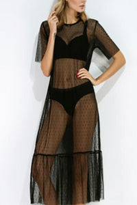 Perspective Lace Dress Slim And Long Outer Cover Up