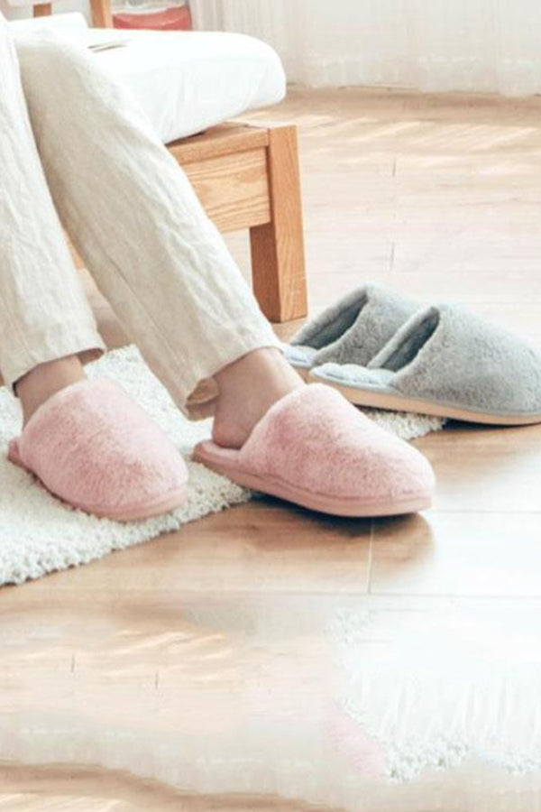 Casual Indoor Non Skid And Warm   Plush Household Cotton Slippers