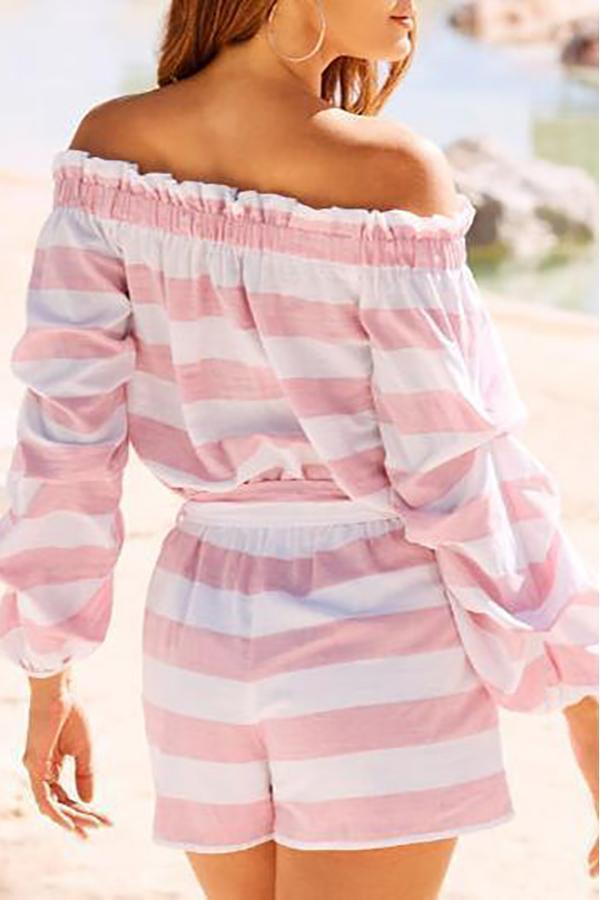 One Shoulder Striped Long-Sleeved Belt Rompers