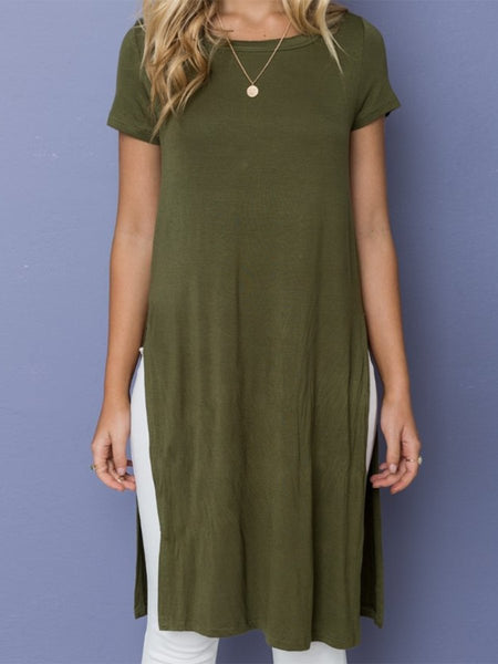 Round Neck  High Slit  Two Way  Plain T-Shirts