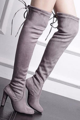 Plain  High Heeled  Velvet  Round Toe  Date Outdoor High Heels Boots