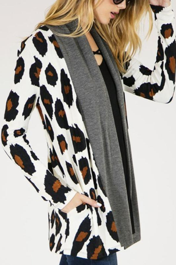 Lapel Leopard Pocket Cardigans