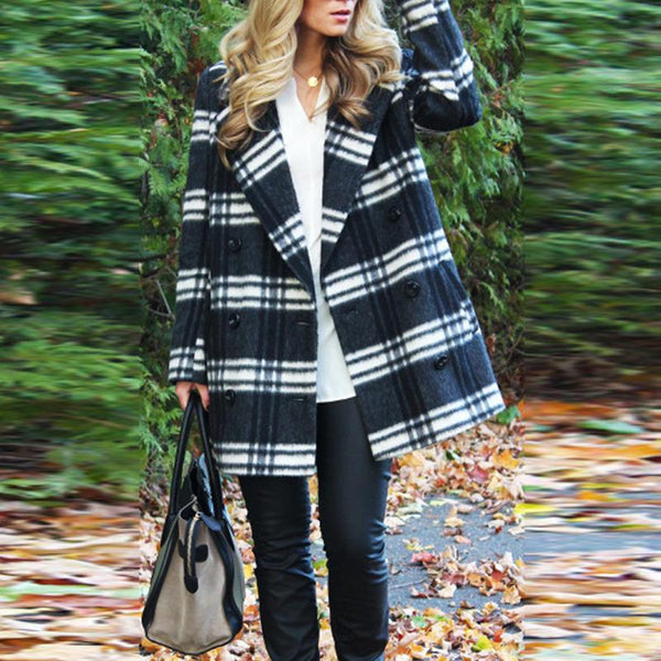 Fold Over Collar Checkered Trench Coats