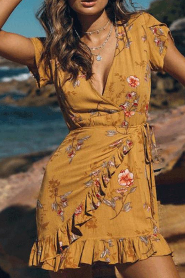 Casual V Collar Floral Printed Vacation Dress