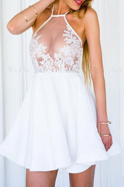 Halter See Through Embossed Skater Dresses