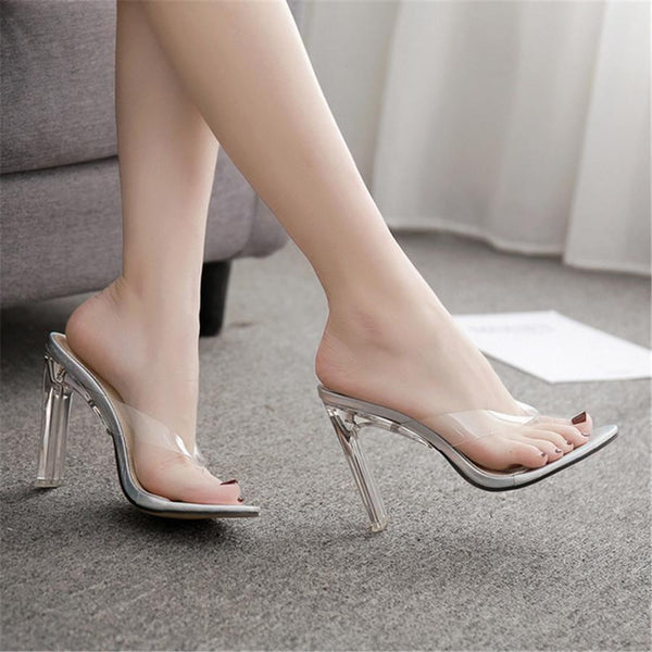Transparent Film Toe Crystal With High Heel Slippers