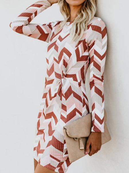 Crew Neck Abstract Print Long Sleeve Bodycon Dresses