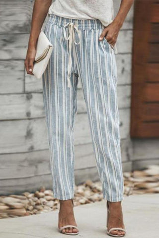 Slim Leg  Belt  Striped Pants