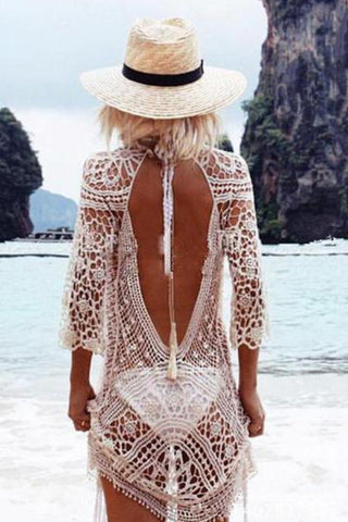 Decorative Lace Plain Beach Cover Ups