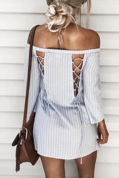 Off Shoulder Cross Straps Back Hole Vertical Striped Casual Dresses