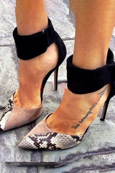 Animal Printed Ankle Strap Point Toe Heels